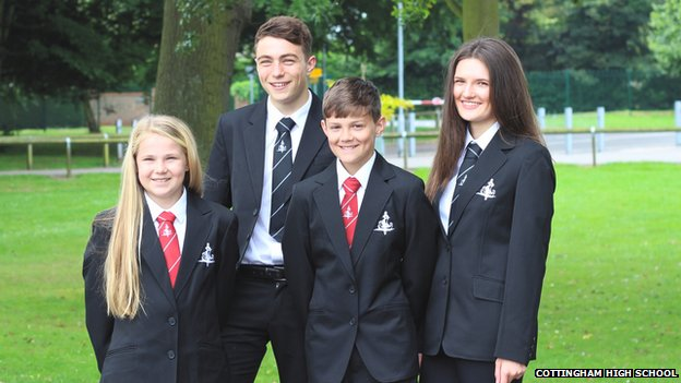 Pupils at Cottingham High School modelling their new designer uniform