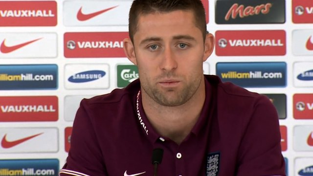 Gary Cahill speaking at an England news conference