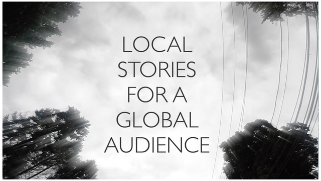 Local stories for a global audience slogan