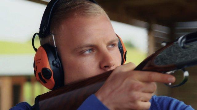 Valtteri Bottas takes on clay shooting challenge