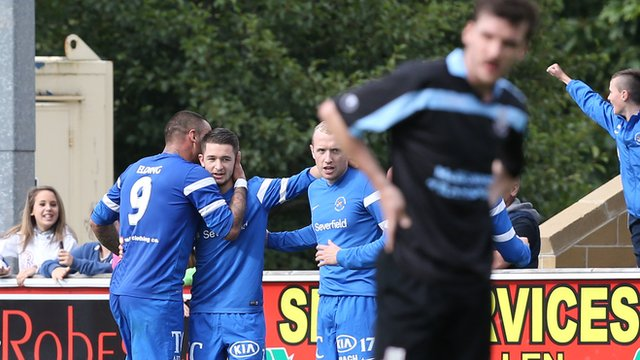Liam Martin celebrates scoring against Ballymena