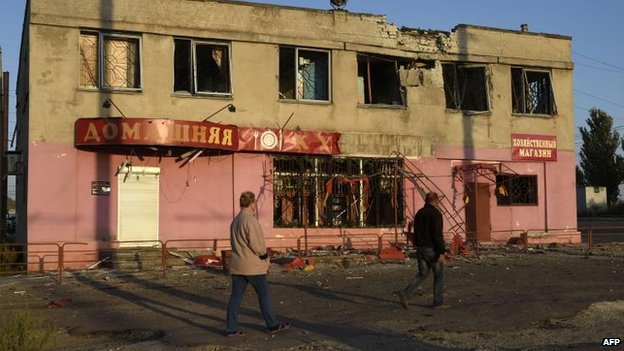 A building in Mariupol witnesses said was hit overnight, 7 Sept