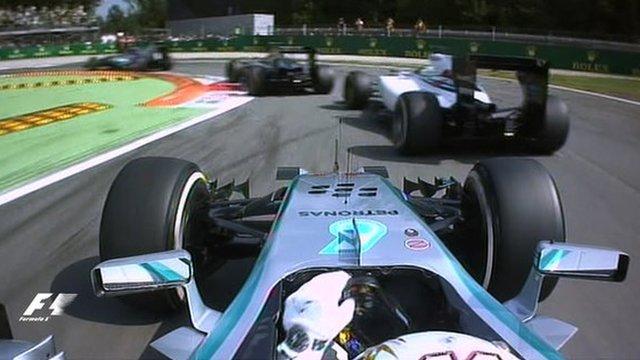 Lewis Hamilton makes a poor start to the Italian Grand Prix