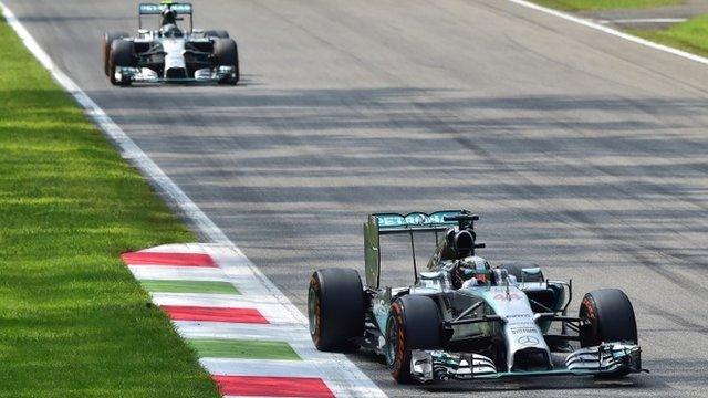 Lewis Hamilton leads Nico Rosberg in Italy