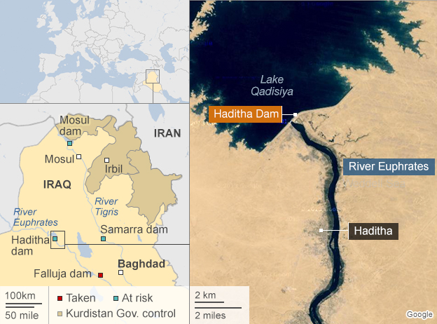 Map of Mosul showing key dams across Iraq (8 September 2014)