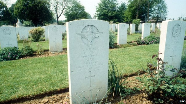 The graves of soldiers who died in WWII