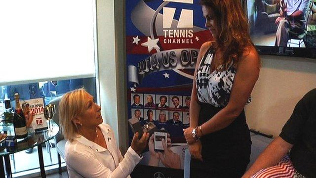 Martina Navratilova proposes to her girlfriend Julia Lemigova at the US Open