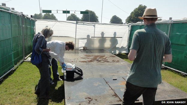 Samples were collected from backstage at the festival urinals