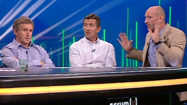 Jonathan Davies, Robert Jones and Gareth Thomas