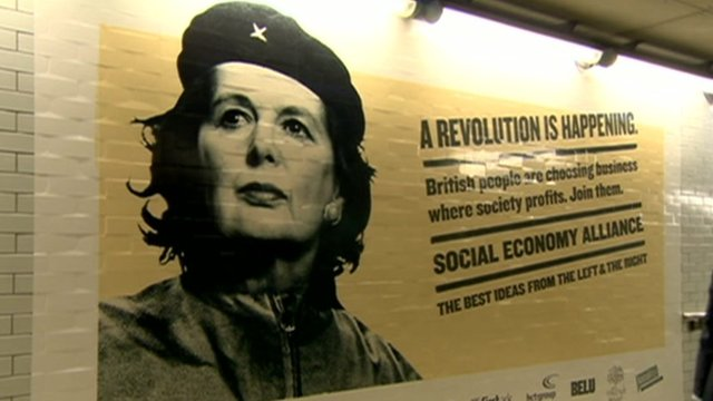 Margaret Thatcher and Che Guevara mash-up image at Westminster station