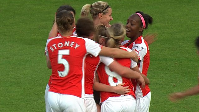 Arsenal Ladies celebrate Caroline Weir's goal against Notts County