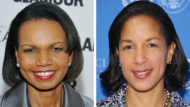 Composite image of former US Secretary of State Condoleezza Rice (l) and US National Security Adviser Sudan Rice