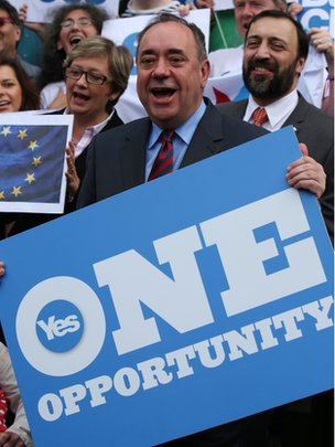 """Alex Salmond holding """"One opportunity"""" poster"""