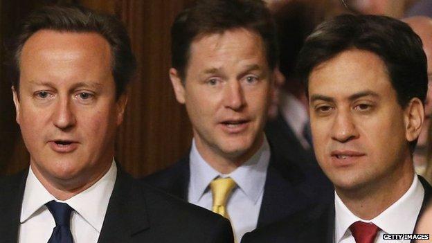 Daibhidh Camshron, Nick Clegg agus Ed Miliband
