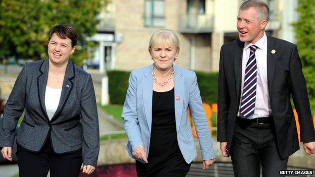 Tory leader Ruth Davidson, Labour leader Johann Lamont and Lib Dem leader Willie Rennie
