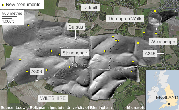 Map of new monuments discovered near Stonehenge