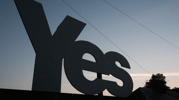 Yes placard, Scottish borders
