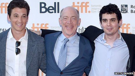 Miles Teller, J.K. Simmons and writer/ director Damien Chazelle