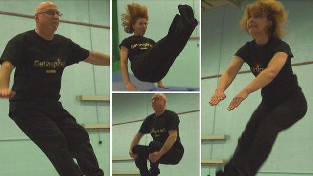 Ken Bruce and Lynn Bowles trampoline