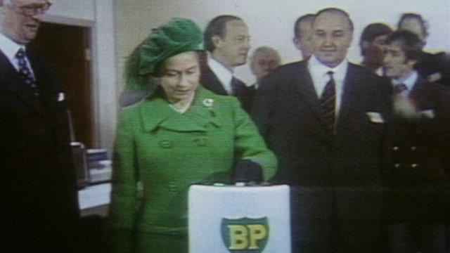 Queen Elizabeth II opens the UK's first oil pipeline