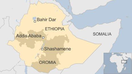 Map of Ethiopia showing location of Shashamene