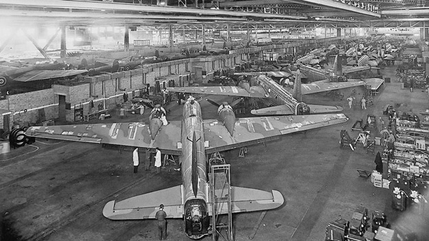 Wartime bomber production line