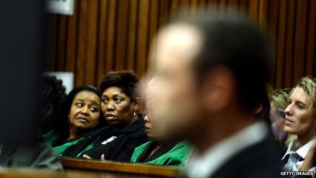 Angie Motshekga (second from left) at the trial in March 2014