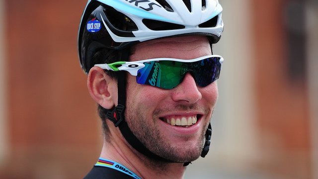 Cyclist Mark Cavendish at the 2014 Tour of Britain