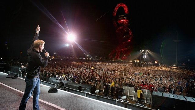 Prince Harry gives a speech on stage at the Invictus Games Closing Ceremony during the Invictus Games at Queen Elizabeth park on September 14, 2014 in London, England