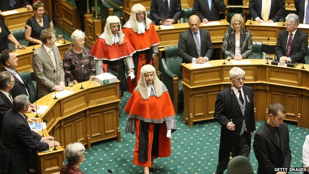 High Court Justice Dame Sian Elias enters the chamber during the swearing in of MPs and the Commissioning of Parliament during the first meeting of the House of Representatives of the 49th Parliament at Parliament House on 8 December, 2008 in Wellington, New Zealand