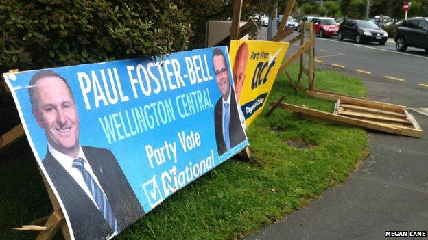 Toppled campaign posters