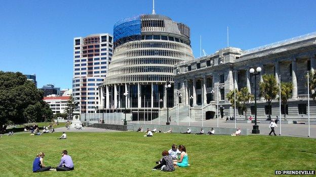 NZ Beehive parliament building