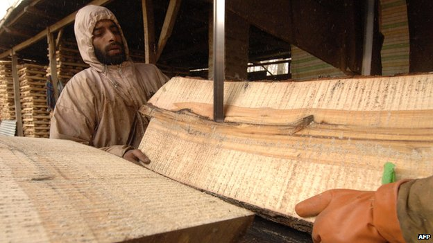 Wood is cut to be made into cricket bats in Kashmir