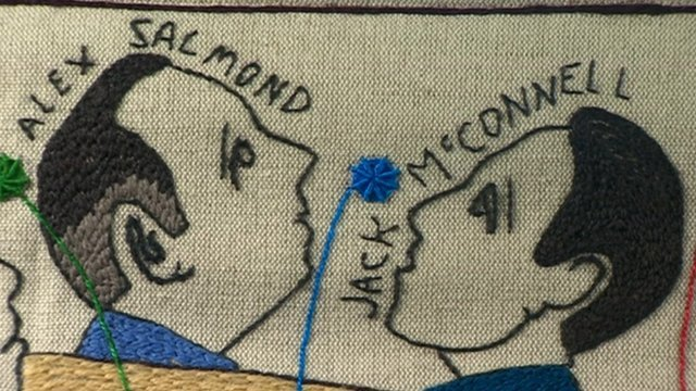 Alex Salmond and Jack McConnell images in tapestry