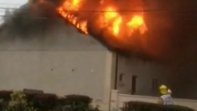 The fire, which badly damaged the Orange hall, was filmed on a mobile phone