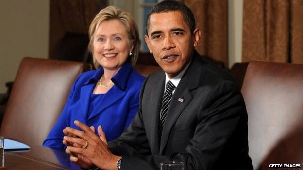 US President Barack Obama (R) speaks alongside Secretary of State Hillary Clinton as he delivers remarks about former Sen. George Mitchell's (D-ME) upcoming trip to the Middle East, in the White House in Washington, DC 26 January 2009