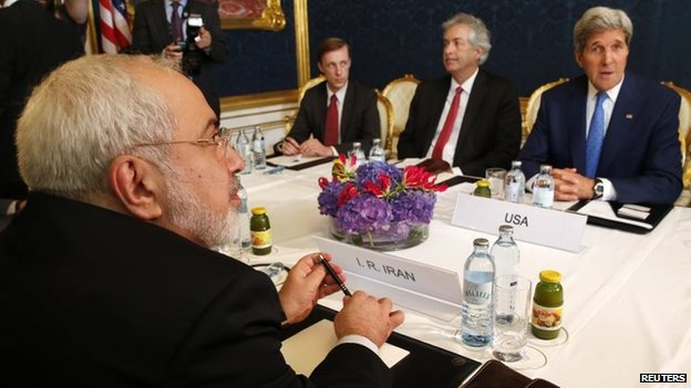 Iranian Foreign Minister Mohammad Javad Zarif and US Secretary of State John Kerry meet in Vienna in July 2014