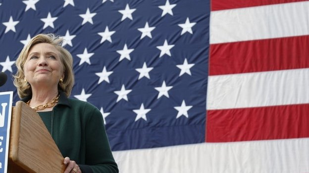 Former US Secretary of State Hillary Clinton gives a speech at the 37th Harkin Steak Fry in Indianola, Iowa 14 September 2014