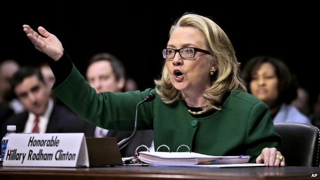 Secretary of State Hillary Rodham as she testifies on Capitol Hill in Washington before the Senate Foreign Relations Committee hearing on the deadly attack on the U.S. diplomatic mission in Benghazi, Libya 23 January 2013