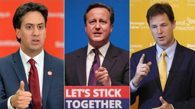 Ed Miliband, Daibhidh Camshron agus Nick Clegg