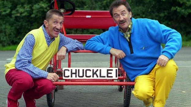 The Chuckle Brothers with their Chuckle I car and bright trousers