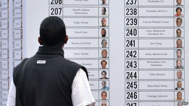 A man looks at the list of candidates for the up coming election in Suva, the capital of Fiji on 15 September 2014