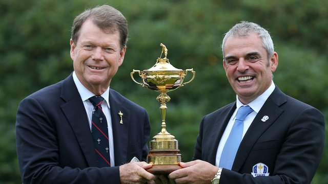 European Ryder Cup Captain Paul McGinley (right) and USA Ryder Cup Captain Tom Watson with the Ryder Cup trophy.