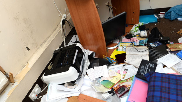 Office equipment damaged in the raid