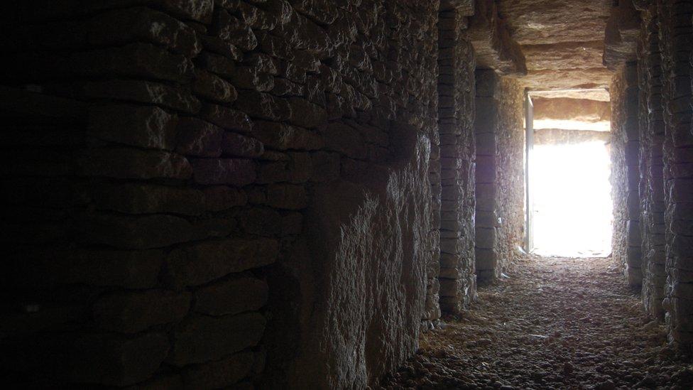 Inside the All Cannings long barrow