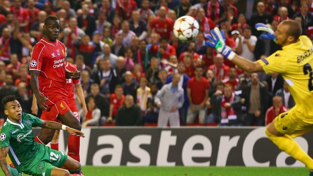 Liverpool's Mario Balotelli scores his first goal for the club