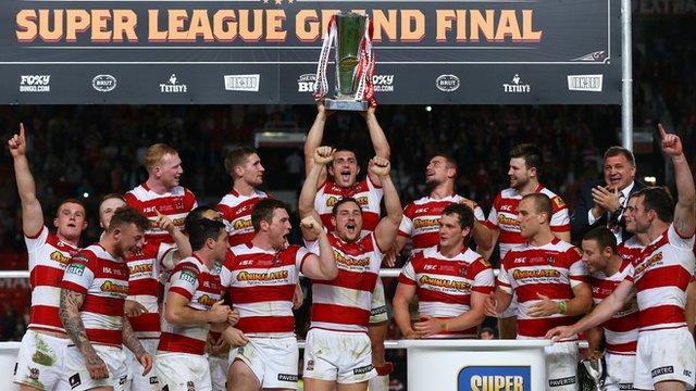 Wigan celebrate winning the 2013 Super League Grand Final