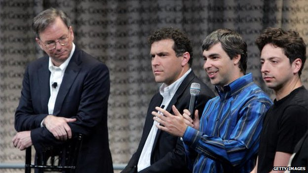 Eric Schmidt, Google CEO, and founders Sergey Brin and Larry Page with a forth member of the Google management