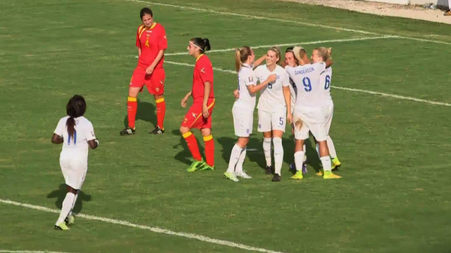 England's women celebrate during their 10-0 victory away in Montenegro.