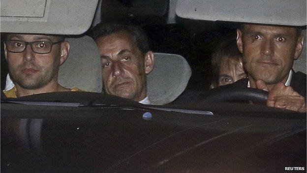 Nicolas Sarkozy in police car, 1 Jul 14